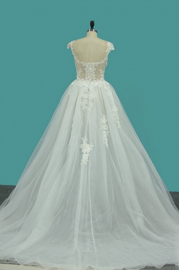 BMbridal Chic Jewel Sleeveless Lace Wedding Dress Tull Appliques Ruffles Bridal Gowns Online_2