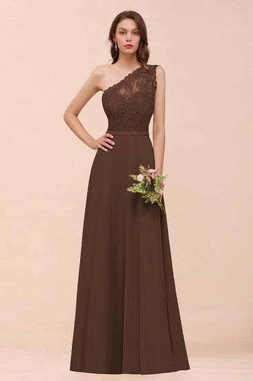 New Arrival Dusty Rose One Shoulder Lace Long Bridesmaid Dress_12