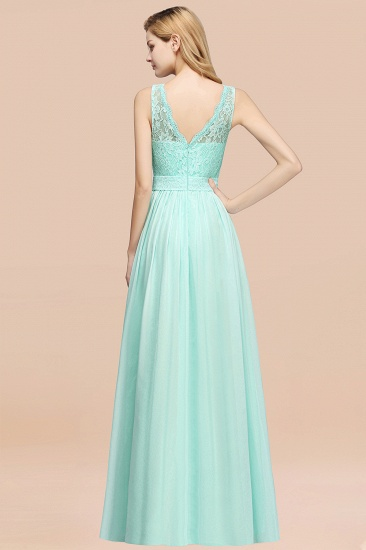 Elegant Chiffon Lace Scalloped Sleeveless Ruffle Bridesmaid Dresses_52