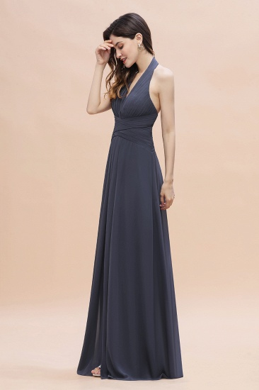 Gorgeous Halter Chiffon Ruffles Bridesmaid Dress with Front Slit Online_5