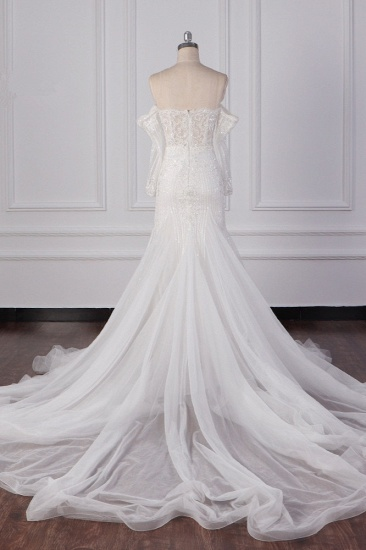 Gorgeous Strapless White Tulle Lace Wedding Dress Long Sleeves Beadings Bridal Gowns On Sale_3