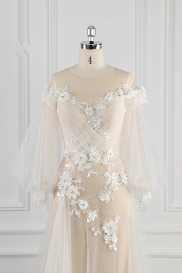 BMbridal Chic Jewel Pink Tulle Flowers Wedding Dress Beadings Appliques Long Sleeves Bridal Gowns On Sale_5