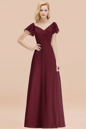 Elegent Short-Sleeve Long Bridesmaid Dress Online Yellow Chiffon Wedding Party Dress_10
