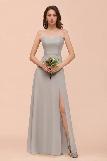 BMbridal Affordable Strapless Front Slit Long Dusty Sage Bridesmaid Dress_30