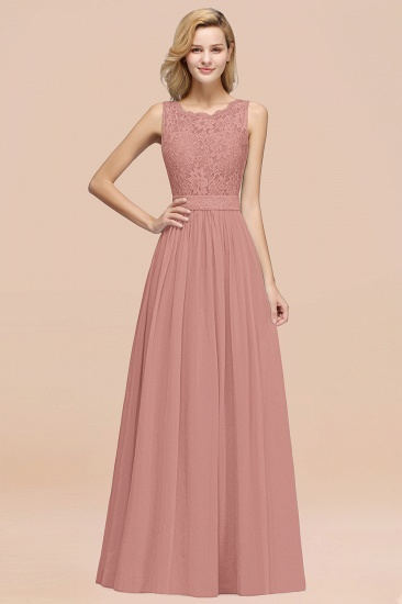 Elegant Chiffon Lace Scalloped Sleeveless Ruffle Bridesmaid Dresses_50