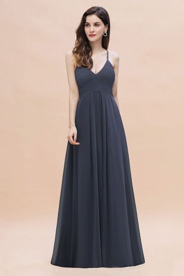 BMbridal Simple Spaghetti Straps Stormy Chiffon Bridesmaid Dress with Ruffles On Sale_4