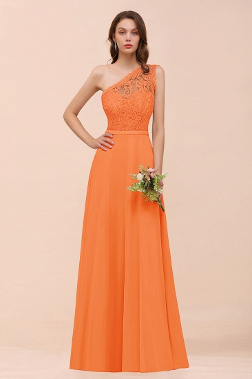 New Arrival Dusty Rose One Shoulder Lace Long Bridesmaid Dress_15