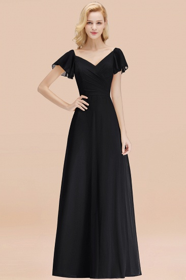 Elegent Short-Sleeve Long Bridesmaid Dress Online Yellow Chiffon Wedding Party Dress_29