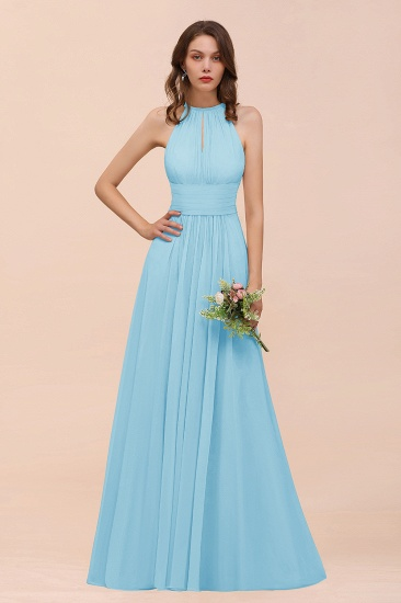 Elegant Chiffon Jewel Ruffle Champagne Affordable Bridesmaid Dress Online_23
