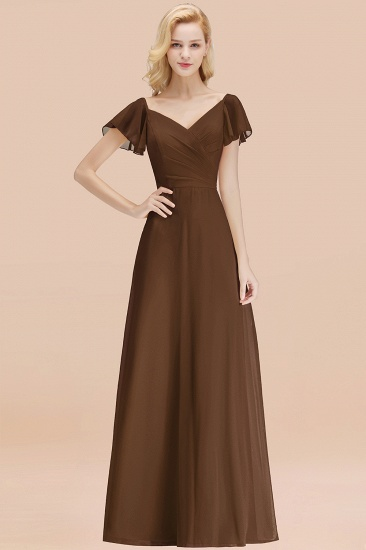 Elegent Short-Sleeve Long Bridesmaid Dress Online Yellow Chiffon Wedding Party Dress_12