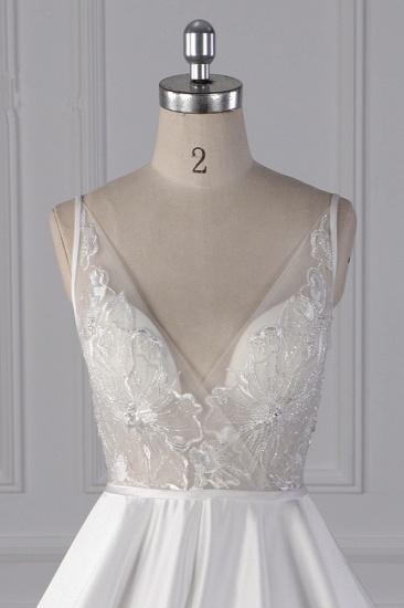 BMbridal Elegant Satin V-Neck Wedding Dress Lace Appliques Sleeveless Bridal Gowns On Sale_5