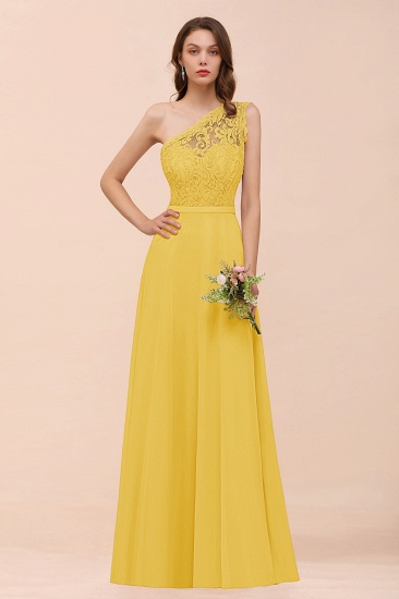 New Arrival Dusty Rose One Shoulder Lace Long Bridesmaid Dress_17