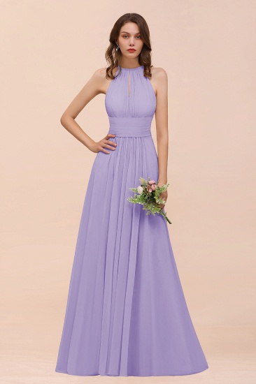 Elegant Chiffon Jewel Ruffle Champagne Affordable Bridesmaid Dress Online_21
