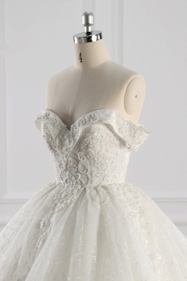 Luxury Ball Gown Off-the-Shoulder Tulle Lace Wedding Dress Appliques Sleeveless Bridal Gowns On Sale_6