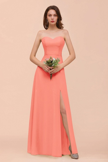 BMbridal Affordable Strapless Front Slit Long Dusty Sage Bridesmaid Dress_45