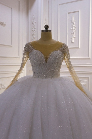 BMbridal Sparkly Ball Gown Tulle Wedding Dress Jewel Sequined Beadings Long Sleeves Bridal Gowns On Sale_4