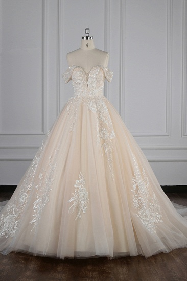 BMbridal Gorgeous Ball Gown Tulle Lace Wedding Dress Champagne Appliques Off-the-Shoulder Bridal Gowns with Beadings On Sale_1