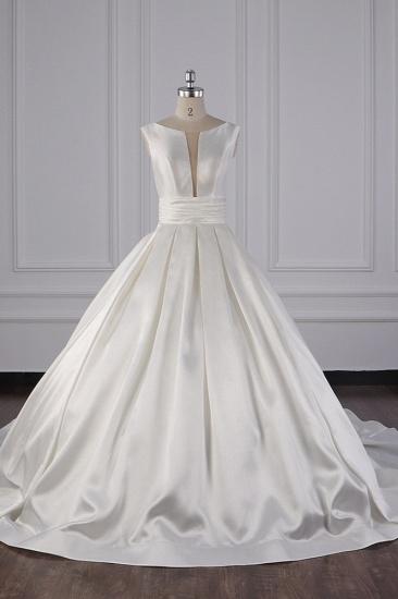 BMbridal Simple Jewel White Satin Wedding Dress Sleeveless Ruffles Bridal Gowns On Sale_1