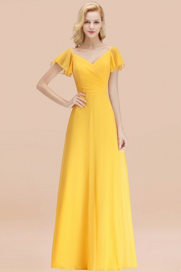 Elegent Short-Sleeve Long Bridesmaid Dress Online Yellow Chiffon Wedding Party Dress_17