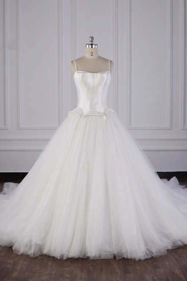 BMbridal Simple Spaghetti Straps Satin Wedding Dress Tulle Ruffles Sleeveless Bridal Gowns Onlien_1