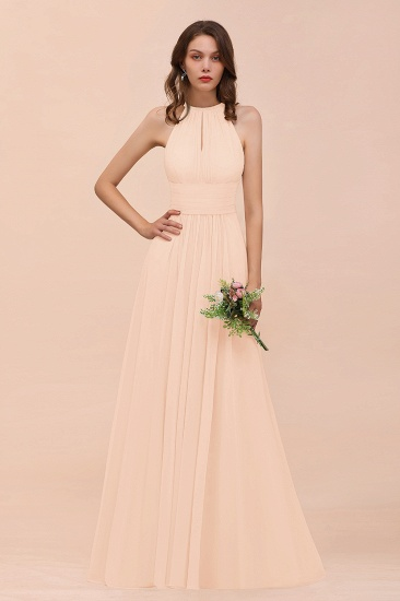 Elegant Chiffon Jewel Ruffle Champagne Affordable Bridesmaid Dress Online_5