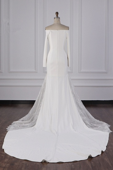 BMbridal Chic Off-the-Shoulder Satin Wedding Dress Tulle Lace Bridal Gowns with Long Sleeves On Sale_3