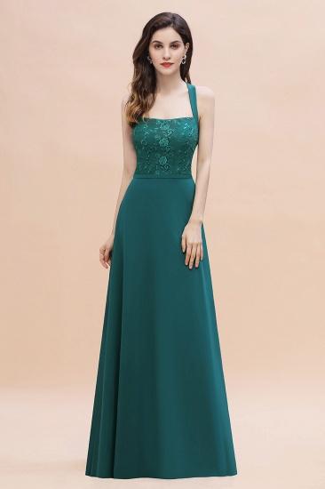 BMbridal Elegant Straps Peacock Chiffon Appliques Bridesmaid Dress Sleeveless On Sale_4