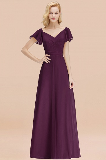 Elegent Short-Sleeve Long Bridesmaid Dress Online Yellow Chiffon Wedding Party Dress_20