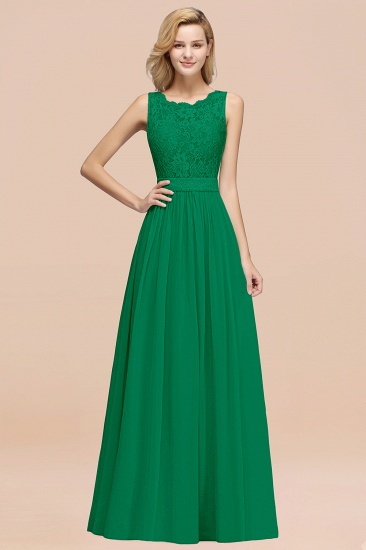 Elegant Chiffon Lace Scalloped Sleeveless Ruffle Bridesmaid Dresses_49