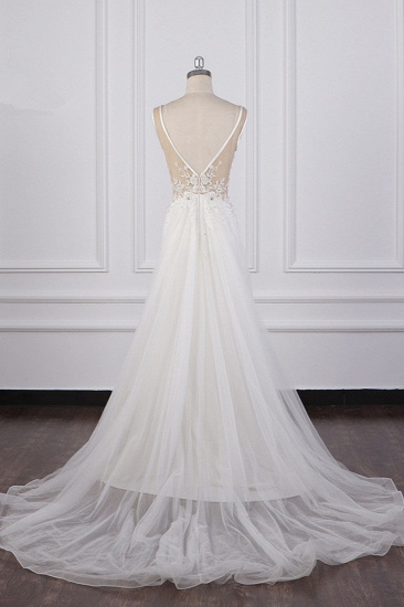 BMbridal Chic Sheath White Satin V-neck Wedding Dress Tulle Lace Appliques Bridal Gowns Online_3