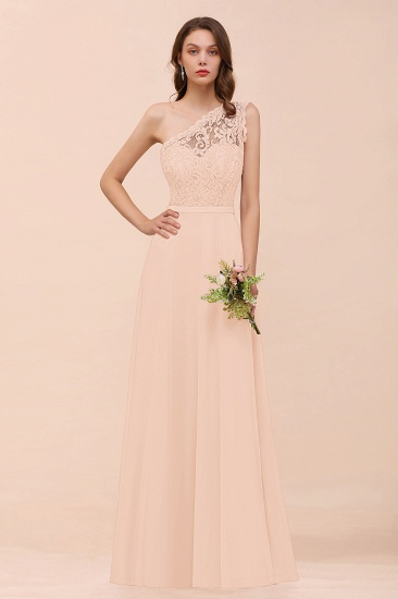 BMbridal New Arrival Dusty Rose One Shoulder Lace Long Bridesmaid Dress_5