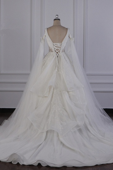 BMbridal Luxury V-Neck Beadings Wedding Dress Tulle Sleeveless Sequined Bridal Gowns On Sale_3