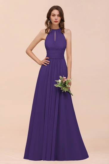 Elegant Chiffon Jewel Ruffle Champagne Affordable Bridesmaid Dress Online_19