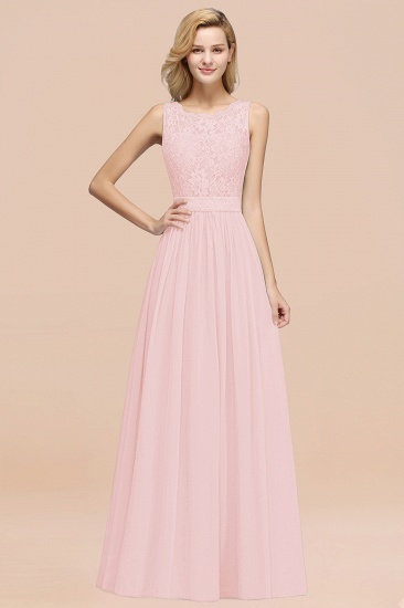 Elegant Chiffon Lace Scalloped Sleeveless Ruffle Bridesmaid Dresses_3