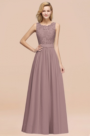 Elegant Chiffon Lace Scalloped Sleeveless Ruffle Bridesmaid Dresses_37
