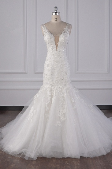 Gorgeous V-Neck Mermaid Lace Appliques Wedding Dress Sequined Sleeveless Bridal Gowns Online_1