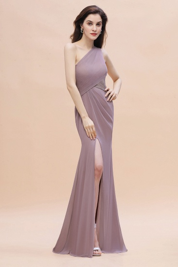 BMbridal Chic One-Shoulder Dusk Chiffon Lace Ruffle Bridesmaid Dress with Front Slit On Sale_6