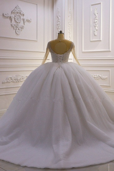 BMbridal Sparkly Ball Gown Tulle Wedding Dress Jewel Sequined Beadings Long Sleeves Bridal Gowns On Sale_3