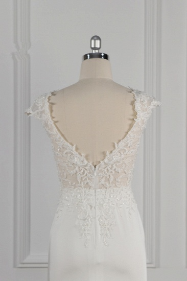 Elegant V-neck Chiffon Lace Wedding Dress Beadings Appliques Mermaid Bridal Gowns Online_7