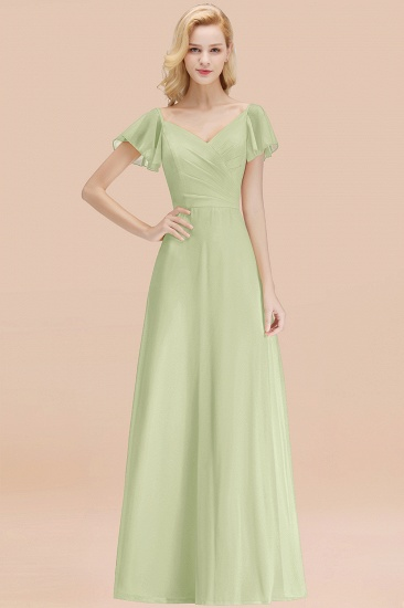 Elegent Short-Sleeve Long Bridesmaid Dress Online Yellow Chiffon Wedding Party Dress_35