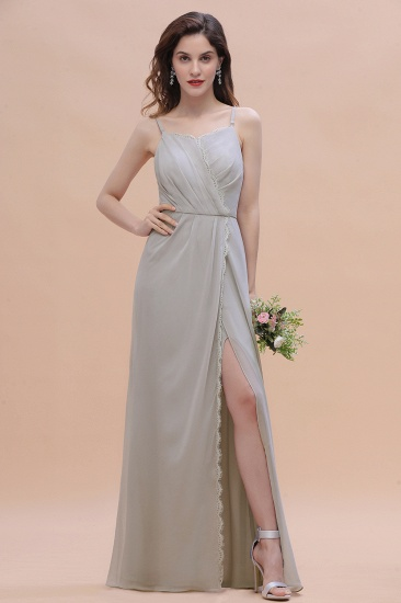 Chic Spaghetti Straps Chiffon Lace A-Line Bridesmaid Dress On Sale