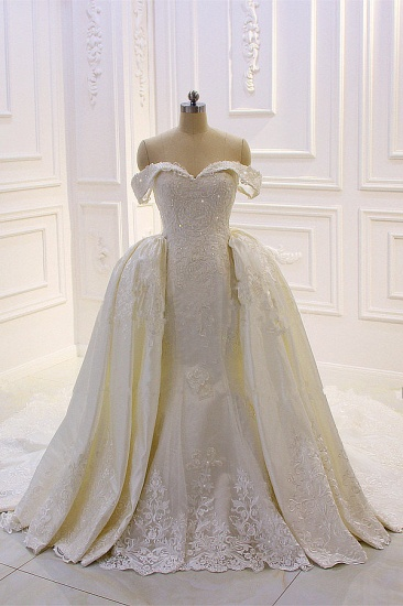 Elegant Off-the-Shoulder Tulle Wedding Dress Sweetheart Lace Appliques Bridal Gowns with Overskirt On Sale_1