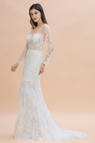 BMbridal Gorgeous Jewel Tulle Lace Wedding Dress Long Sleeves Appliques Mermaid Bridal Gowns On Sale_5