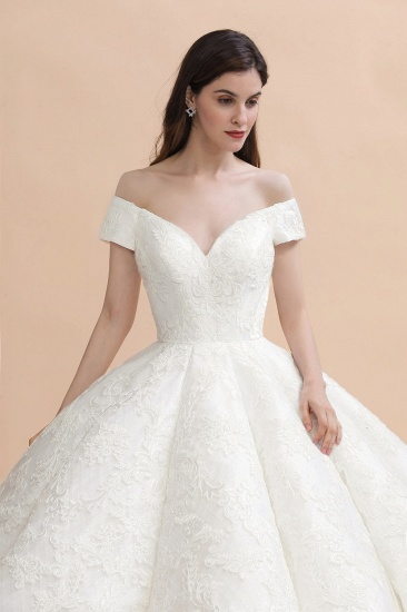 Luxury Ball Gown  Lace Satin Sweetheart Wedding Dress Sleeveless Bridal Gowns with V-Back On Sale_4