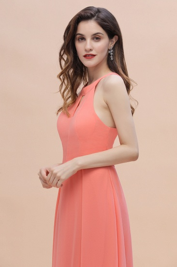 BMbridal Simple Jewel Sleeveless Coral Chiffon Bridesmaid Dress Online_8