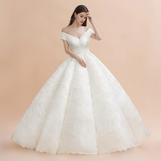 BMbridal Luxury Ball Gown Off-the-Shoulder Sweetheart Wedding Dress Sleeveless Lace Satin Bridal Gowns On Sale_6