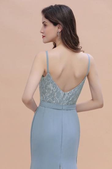 BMbridal Elegant Mermaid Chiffon Lace Dusty Blue Bridesmaid Dress with Spaghetti Straps On Sale_10