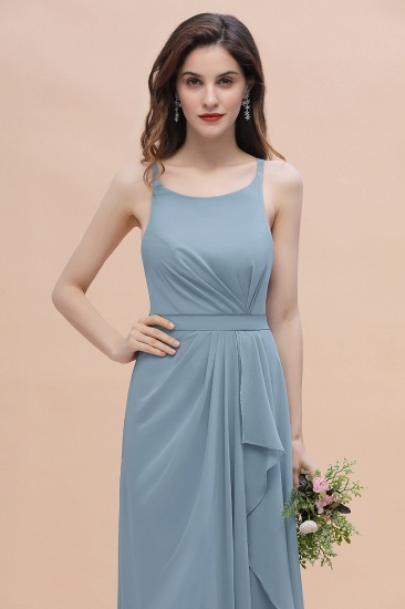 Gorgeous A-Line Straps Dusty Blue Chiffon Bridesmaid Dress with Ruffles On Sale_8