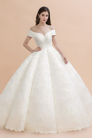 Luxury Ball Gown Off-the-Shoulder Sweetheart Wedding Dress Sleeveless Lace Satin Bridal Gowns On Sale