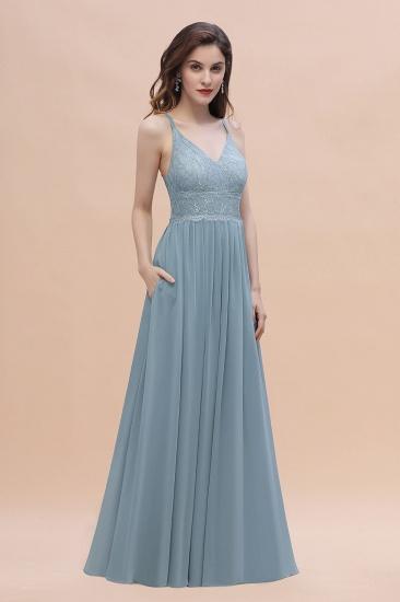 Stylish Straps V-Neck Chiffon Lace Dusty Blue Bridesmaid Dress On Sale_4